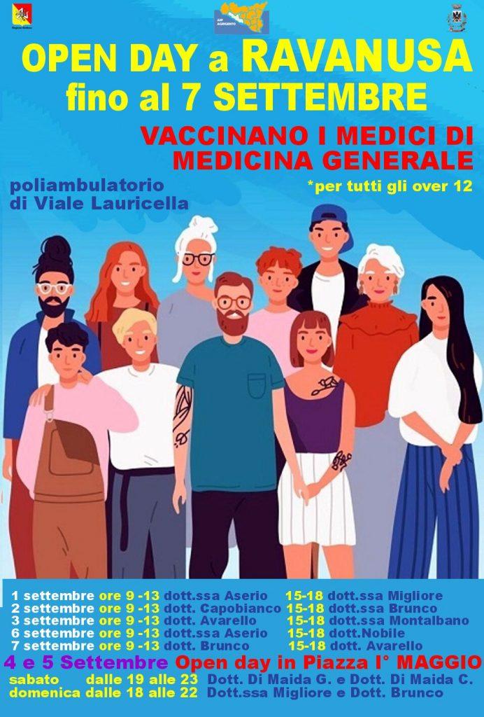 Open day vaccini anti Covid19 fino al 7 Settembre